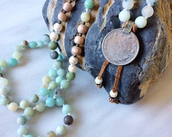 Amazonite, Rosewood, Agate & Jade Hand Knotted Diffuser Necklace with Turkish Coin and Leather Tassel