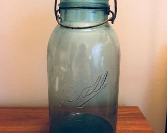c1910s Ball Ideal Mason Jar with Bail Top and Lid Blue