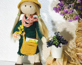 Crochet doll with wire fram in filming clothes  Doll with book, bag and flowers Interior doll Gift for loves of reading  Gift for  girl