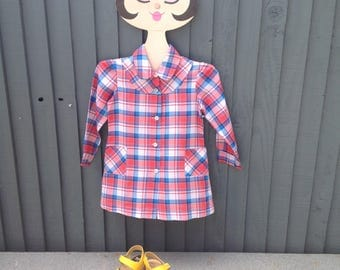 Gingham check shirt dress, vintage girls 3 - 5 years, red white & blue