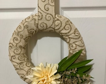 Holiday wreath - Christmas, Gold, Floral, Christmas