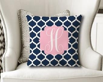 MONOGRAM PILLOW, Navy Pink Nursery- Baby Girl Shower Gift, Daughter Gift, Christmas Sister Gift, Dorm Room Pillow Cover or W Insert