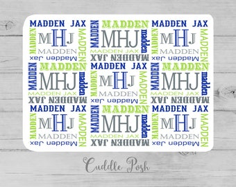Baby Boy Name Blanket, MONOGRAM BOY Nursery Bedding, BOY Name Nursery Quilt, Personalized Boy Shower Gift, Swaddle Blanket-Choose Colors