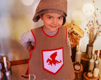 Musketeer Kids Costume HANDMADE Chapeau mousquetaire Costume Soldier Vest Cap Dragon design