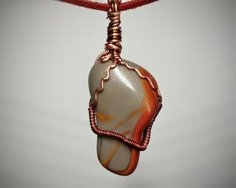 Noreena Jasper Pendant - Polished Wire Wrapped Jewelry - Bright Red and Orange Swirled Layers with Sky Blue Foundation - Handmade Necklace