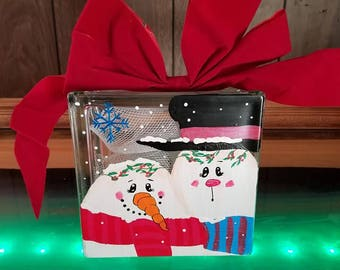 Snow Man Hand painted Decorative Glass block with Lights, home decor, night lamp, mr and mrs snowman, decoration, lights, glass painted