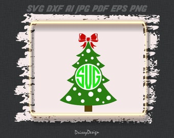 Christmas Tree Monogram, Christmas Tree SVG, Christmas SVG, Bow Svg, Silhouette Cut Files, Cricut Cut Files, Dxf EPS Png Ai, Vector Clipart