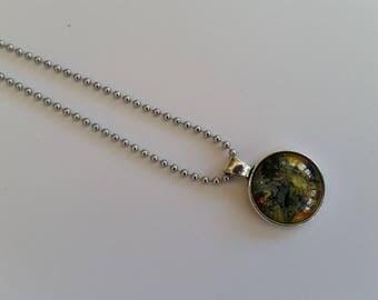 FREE SHIPPING-Unique Handmade Fluid Acrylic Round Pendant. Abstract Jewellery. Original Jewellery. Australian Made Jewellery. Space