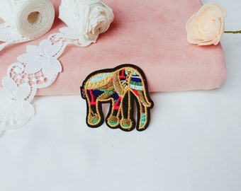 gold elephant patch/iron on patch/sew on patch/embroidered patch/animal patch/patch for jacket