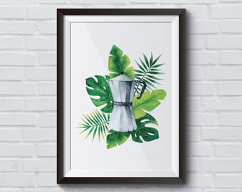 Coffee Watercolor Printable, Kitchen Decor, Tropic Digital Artwork, Instant Download, 8x10, Monstera Printable, First Coffee, Wall Art Print
