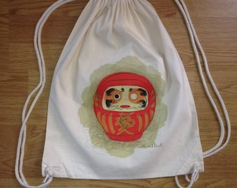 Daruma backpack, backpack Koikima Store, illustration Daruma, backpack cotton, natural, gift, backpack fabric, original backpack
