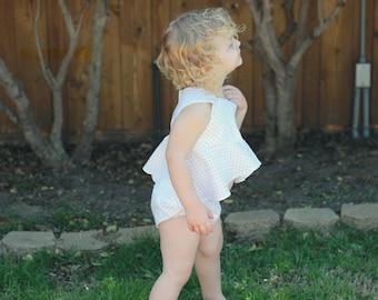 Polka dot hi-low baby top, polka dots, baby top, baby shirt, shabby chic, baby, baby clothing, baby girl clothing