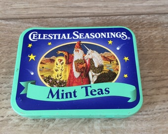 Vintage small Christmas Mint Teas Tin by Celestial Seasonings / Small Tea Storage Container / Christmas Decor / x-mas gift