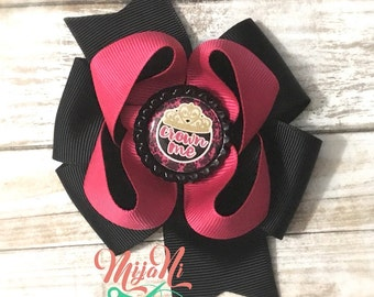 Crown Me - Princess - Stacked Pinwheel Bow - Hairbow - Crown - Pink - Black - Gold - Bottle Cap - Clip - Barrette