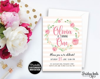 Peach Floral Wreath Personalised Birthday Invitation, Pink Watercolor printable invite, 1st birthday party, Personalised Digital Download