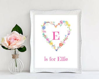 Custom Name. Monograms, Personalized Names, Nursery Decor, Baby Shower, Gifts for Girls, Calligraphy, Beautiful Watercolor Art