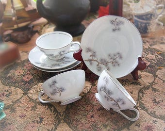 Vintage Fashion Manor Pinedale Japan set of three cups and saucers.
