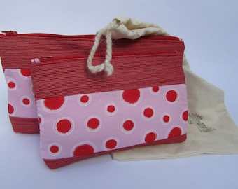 Quilted Zipper Pouch Set Red on Pink