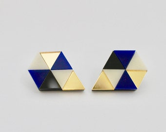 Loshiki Blue Pentagon Earrings