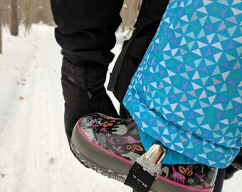 Elastic snow pant stirrups, boot clips, boot straps for kids