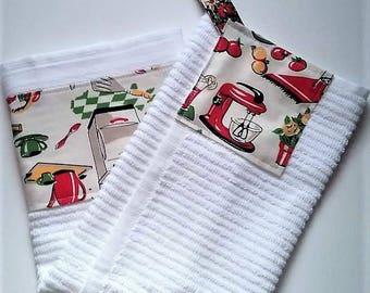 Kitchen Towel, Hanging Kitchen Towel, Retro Kitchen Towel, Tea Towel, Dish  Towel