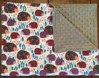 Baby / Toddler Blanket - Floral Hedgehogs - Grey Minky - Baby Girl