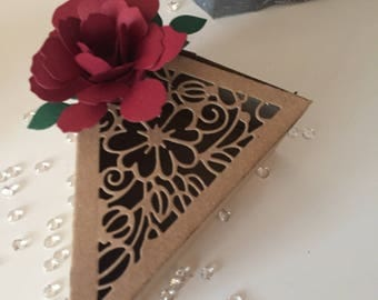 Rustic flower cake slice box