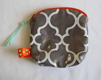 RTS--Gray and Orange Zip Pouch--Essential Oil Holder--Coin Purse--under 15 Gift--GNO