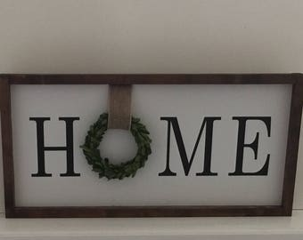 Home Handcrafted Wood Sign|Home Wood Sign| Farmhouse Sign|Home Wood Sign With Boxwood Wreath|Preserved Boxwood Wreath Sign|Home Painted Sign