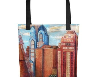 City Cranes - Amazingly beautiful full color tote bag with black handle featuring children's donated artwork.