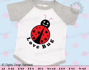 Love Bug Valentine SVG, Vector art, Cricut, instant download, Print Files, svg, png, jpg, dxf, psd, pdf, wmf, ai, eps, ms word