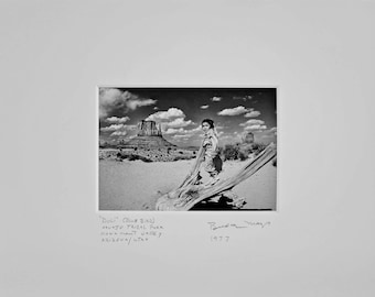 Fine Art Black and White Photograph of a Navajo Indian Girl in Monument Valley Tribal Park Arizona//Native American Photography//Photos Gift