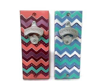 Indoor/Outdoor Magnetic Bottle Opener - Wall Mount Cap Catcher - Chevron Design - Blue and Maroon - Drop Catch Opener