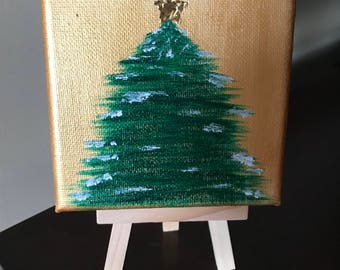 Mini Christmas Tree Canvas with Easel