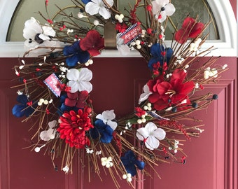 """Twig Wreath 18""""-4th of July-Red-White-Blue-Patriotic Wreath-Spring-Summer Wreath"""
