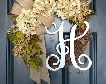 Wreath with Initial,Farmhouse Wreath,Grapevine Wreath,Front Door Wreath,Spring Wreath,Wreaths ,Door Decoration,Hydrangea Wreath,Wreath Gift