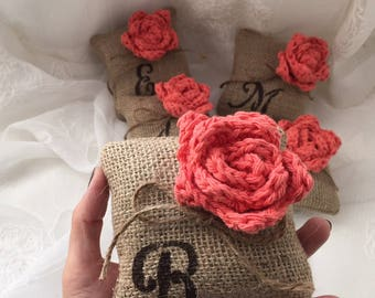 Monogram Mini Pillow,*Coral*,Burlap pillow, 1 or Set of 3,4,5,Flower Pillow,Bridesmaid gift,BFF Gift,Initial gift,Spring Decor,Wedding decor