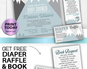 Mountain baby shower, Adventure awaits, hunter, tribal baby shower, Printable Invitation Template, adventure shower, FREE Diaper Raffle,book