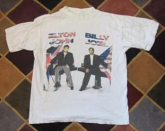 Large Elton John & Billy Joel 1994 Tour T-Shirt / White Tee, Band Shirt