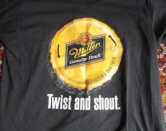XL Black Miller Genuine Draft T-Shirt / 80s 90s Screen Stars Best, Single Stitch, 50/50 Poly Cotton