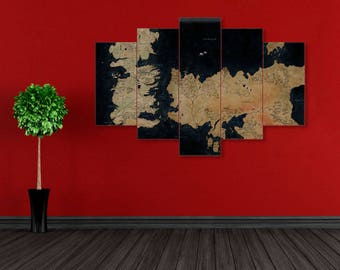 Westeros Map, Game of Thrones, Map of The Westeros, Westeros, Game of Thrones canvas, GoT canvas, GoT wall art, GoT print, Winter is coming