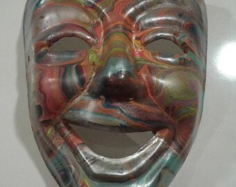 Venetian Abstract Hand Painted Rainbow Masquerade  Mask