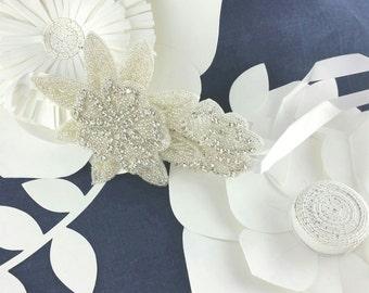 Ivory Beaded Flower Satin Headband, Silver Cryrstal Flower Side Accented Headpiece
