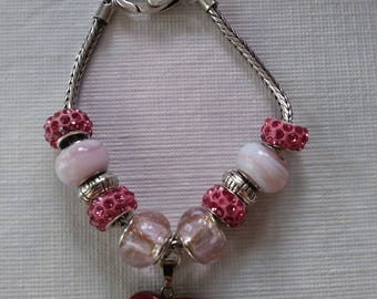 Sparkly, Pink, Stone, Heart, Glass and Crystal, Murano, Bead Charm Bracelet