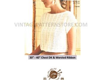 "Ladies picot edge, cap sleeve, lacy summer top sweater vest - 30"" - 40"" chest - Vintage PDF Crochet Pattern 1595"