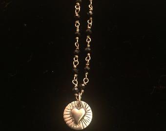"Heart, Obsidian Crystal, 925 Silver Pendant & 17"" Chain"