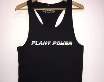 Plant Power Slogan Statement vest.  Organic Cotton Racerback Jersey Vest, Mens Black