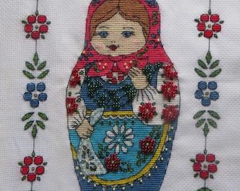 Matryoshka, Russian doll, nesting doll Pattern Cross Stitch