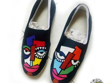 Badhuche Two Face Hand Painted Canvas Shoes