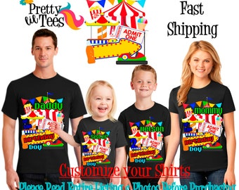 CARNIVAL Birthday BOY Theme Family BLACK Shirts For the Entire Family Mom Dad Brother and More T-shirts Long/ Short sleeve Raglan Circus